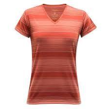 Devold Breeze Woman T-shirt V-neck - mecca stripe